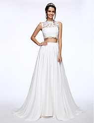 LAN TING BRIDE A-line Wedding Dress Two-in-One Court Train Bateau Lace Charmeuse with Appliques Beading Button