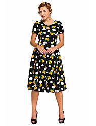 Women's Dot Floral Print Keyhole Vintage Swing Dress