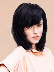 обаятельная высокое качество mediuim прямые человеческие волосы парики 14 дюймов