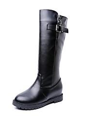 Damen-Stiefel-Outddor-Lackleder-Flacher Absatz-Modische Stiefel-Schwarz / Braun