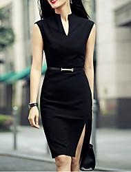 Moulante Robe Femme Sortie Sexy,Couleur Pleine V Profond Mi-long Sans Manches Blanc Noir Lin Polyester Eté Taille Normale Micro-élastique