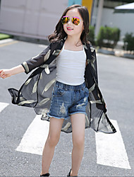 Girl's Casual/Daily Print BlouseCotton Summer / Fall Black / White