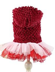 Chien Pulls à capuche Robe Vêtements pour Chien Hiver Printemps/Automne Couleur Pleine Mignon Anniversaire Garder au chaud Violet Rouge