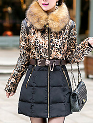 Women's Long Padded Coat Plus Size Leopard / Patchwork-Cotton Feather Long Sleeve Hooded Black / Green
