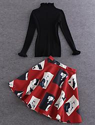 Boutique S Women's Going out Winter Set SkirtSolid Turtleneck Long Sleeve Black Cotton Opaque/Set