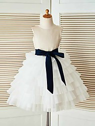 A-line Knee-length Flower Girl Dress - Satin / Tulle Sleeveless Jewel with Sash / Ribbon