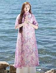 Ample Robe Femme Décontracté / Quotidien Chinoiserie,Fleur Mao Mi-long ½ Manches Rose Autres Eté Taille Normale Non Elastique Fin