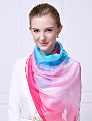 Women Vintage Casual Rectangle Gradient Solid Candy Colors Chiffon Silk Scarf Travel Beach Towel
