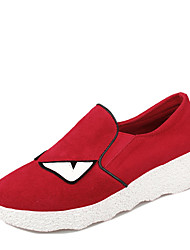 Women's Flats Summer / Fall Round Toe Synthetic Casual Low Heel Split Joint Black / Red Others
