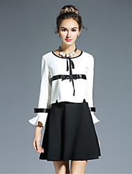 Women Clothing Plus Size Vintage Black White Color Block Bow Patchwork Ruffle Sleeve Fake Two Pieces Dress