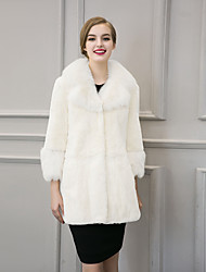 Women's Street chic Fur Coat Solid V Neck Long Sleeve Winter White / Black Faux Fur Thick