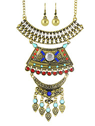 Colorful Rhinestone Necklace Earrings Sets