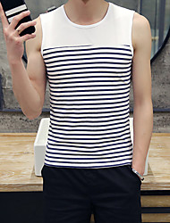 Men's Striped Sport Tank TopsCotton Sleeveless-Multi-color