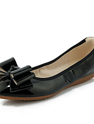 Women's Solid PU Low-Heels Pointed Closed Toe Pull-on Pumps-Shoes