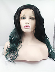 Sylvia Synthetic Lace front Wig Black Green Ombre Hair Heat Resistant Long Natural Wave Synthetic Wigs