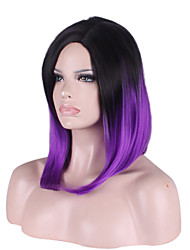 Short Medium Side Bang Kinky Straight Synthetic Wigs for Women Black Purple Cheap Cosplay Wig Hair