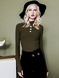 Damen Standard Pullover-Lässig/Alltäglich Einfach Solide Beige / Grün Rollkragen Langarm Baumwolle Frühling / Herbst Mittel / Dick Dehnbar