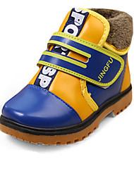 Boy's Boots Fall / Winter Comfort PU Casual Flat Heel Zipper Black / Blue / Brown Walking
