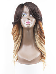 New Style Medium Brown Hair Lace Front Natural Wavy Synthetic Lace Wigs