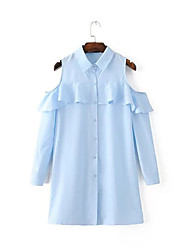Women's Off The Shoulder/Ruffle Going out Street chic Shirt Dress,Floral Shirt Collar Above Knee ¾ Sleeve Blue Fall Mid Rise Micro-elastic Medium