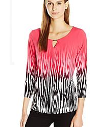 Damen Einfarbig Einfach Lässig/Alltäglich T-shirt,Rundhalsausschnitt Alle Saisons Langarm Rot Polyester Dünn