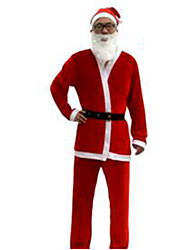 Christmas Costume/Holiday Halloween Costumes Red Solid Top / Pants / Belt / Hats Christmas Male Nonwoven Fabric / Pleuche