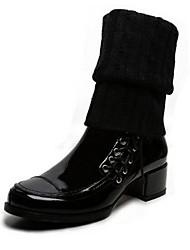 Damen-Stiefel-Lässig-Leder-BlockabsatzSchwarz