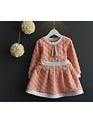 Girl's Casual/Daily Solid DressCotton Spring / Fall Blue / Pink