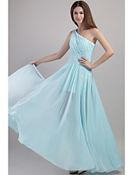Floor-length One Shoulder Bridesmaid Dress - Elegant Sleeveless Chiffon