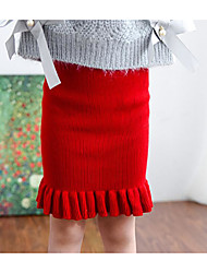 Girl's Casual/Daily Solid SkirtCotton / Acrylic Winter / Fall Black / Red