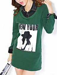 Normal Hoodies Femme Décontracté / Quotidien simple,Lettre Vert Col de Chemise Manches Longues Coton Automne / Hiver Epais Micro-élastique