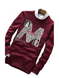 Sweatshirt Pour des hommes A Motifs / Lettre Décontracté / Sport Polyester Manches longues Noir / Bleu / Rouge / Gris