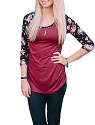 Tee-shirt Femme,Fleur Décontracté / Quotidien simple Automne / Hiver Manches Longues Col Arrondi Rouge / Blanc Polyester Moyen