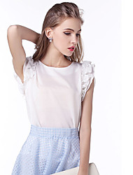 Damen Solide Einfach Lässig/Alltäglich T-shirt,Rundhalsausschnitt Sommer Ärmellos Rot / Weiß / Schwarz / Grün Polyester Mittel