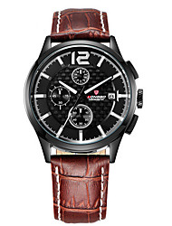LONGBO Men's Leather Band Water Resistant Analog Quartz Dress Watch (with Jewelry Box)