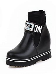 Feminino-Botas-Plataforma Inovador Botas de Cowboy Botas de Neve Botas Montaria-Rasteiro Plataforma-Preto Vermelho Prateado-Couro