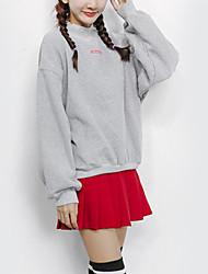 Sweatshirt Femme Décontracté / Quotidien simple Lettre Col Arrondi Micro-élastique Coton Manches Longues Automne Hiver