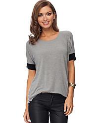 Damen Einfarbig Einfach / Street Schick Lässig/Alltäglich T-shirt,Rundhalsausschnitt Frühling / Herbst Kurzarm Schwarz / Grau Polyester