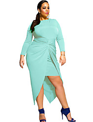 Women's Knotted Slit Long Sleeve Plus Dress