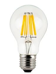 8W E26/E27 Ampoules Globe LED A60(A19) 8 COB 780 lm Blanc Chaud Gradable / Etanches V 1 pièce