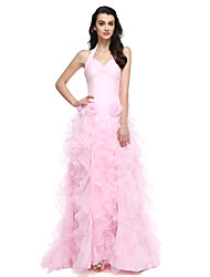 Formal Evening Dress Ball Gown Halter Court Train Organza with Flower(s) / Split Front / Ruching