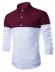 Men's Casual/Daily Simple Spring / Fall Shirt,Color Block Shirt Collar Long Sleeve Red / Green Cotton Medium