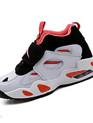 Men's Sneakers Spring / Fall Comfort PU Athletic Flat Heel Hook & Loop Black and White / Orange Sneaker
