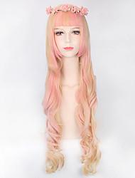blondes mixtes ondes longues mode beauté lolita perruques roses nouvelle chaleur de style perruques de cheveux Coplay résistant à la
