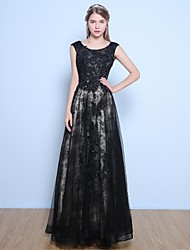 Formal Evening Dress A-line Jewel Floor-length Lace / Satin / Tulle with Beading / Flower(s) / Sequins