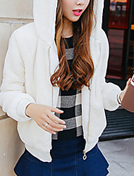 Women's Going out / Casual/Daily Simple / Cute Fur Coat,Solid Hooded Long Sleeve Fall / Winter White Rabbit Fur / Faux Fur