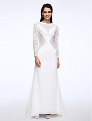 Lanting Bride® A-line Wedding Dress Sweep / Brush Train Bateau Chiffon / Lace with Lace
