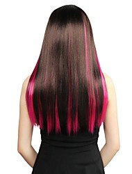 Neitsi 18'' 5Pcs Clip in on Synthetic Hair Extensions Colourful Rose Highlight Straight  Streaks