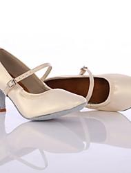 Women's Dance Shoes Leather Leather Latin / Dance Sneakers Heels Low Heel Indoor / Performance Black Customizable