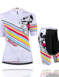 Womens Cycling Jersey Mountain Bike Kit Riding Short Sleeve Shirts and 4D Padded Shorts /Sweat Releasing Fast Drying